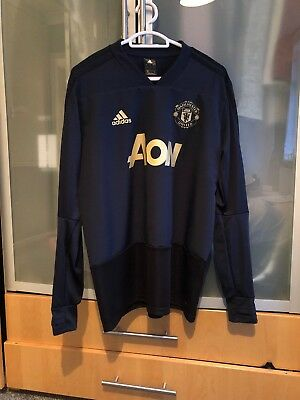 012860d9b93 MANCHESTER UNITED TRAINING shirt Blue Red White Adult Small Nike Old ...