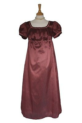 Ladies Regency Jane Austen Burgundy Evening Ballgown Costume Theatre 12 - 14
