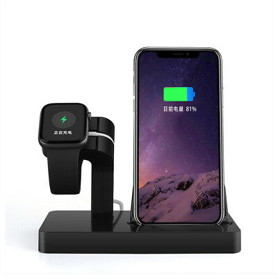 US 2in1 Charger Dock Stand Bracket For Apple Watch 1/2/3/4 iPhone 8 X XR XS Max