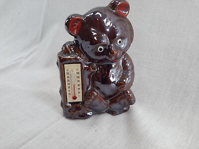 Vintage Bear Bank With Thermometer Japan Anco
