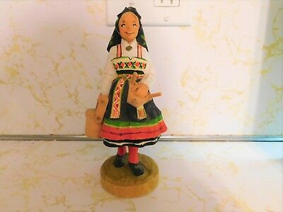 Vintage Henning Hand Carved and Painted Milk Maid ~ Norway