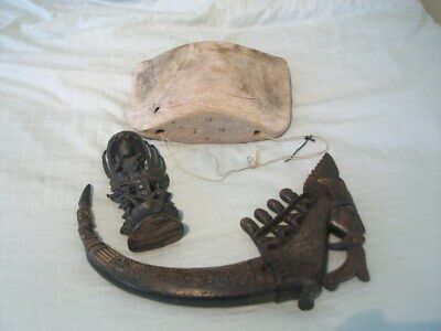 Unique lot of African wooden statues/home decor/sword/bowl