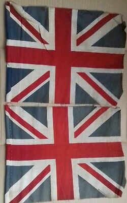 "TWO used Vintage  15"" union flags"