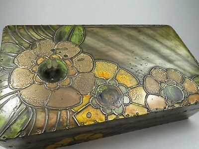 Vintage Antique 1920's Art Deco Pewter Covered Enamel Painted Wooden Box