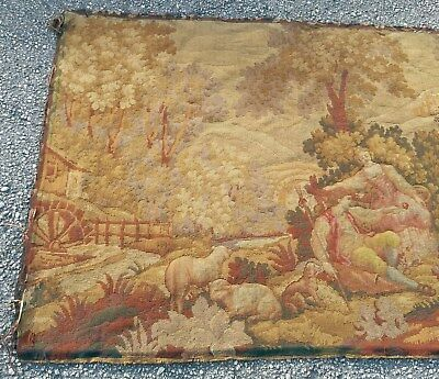 """19th C Aubusson FRENCH 59"""" TAPESTRY Antique Garden Animals - Restore / Upolstery"""
