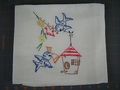 Vintage Handcrafted Embroidered Dish Towels Bluebirds Sewing & Wash Day Lot Of 2