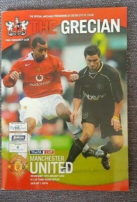 Exeter City v Manchester United FA Cup Third Round Replay 2005 mint programme