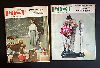 2 Norman Rockwell covers 2 Saturday Evening Post Magazines, June 1958, Mar.1956