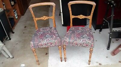 Pair of small antique chairs for shabby sheek / Up-cycling / reupholstering