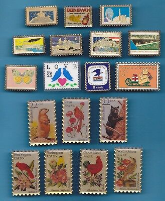 Lot 18 Pin's Timbre Postage Stamp American Etats Unis Usa  +++++++++++++++++++