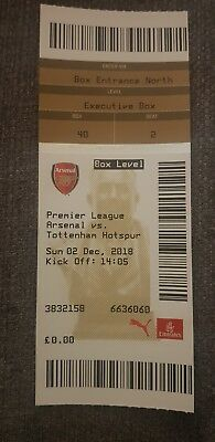 Arsenal v Tottenham Hotspur Spurs premier league ticket 2018 mint