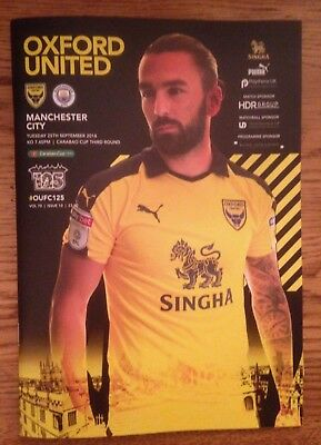 Oxford United v Manchester City - Home  Programme - League cup - 25/09/2018