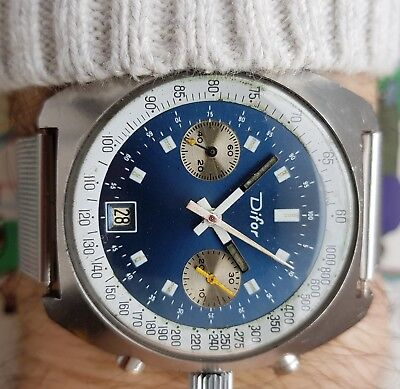 Vintage Rare Chronograph DIFOR All Steel Valjoux 7734 movement 17 jewels 40,5mm