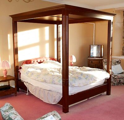 Stunning Vintage 1930's King Size Solid Wood Four Poster Bed Excellent Quality