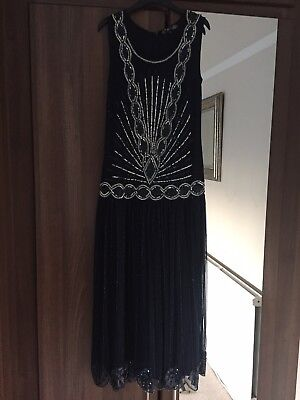 Joanna Hope 1920s Style Gatsby Charleston Beaded Sequin Dress Size 12 Navy