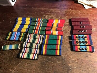 WWII WW2 ORIGINAL US Army Navy MILITARY RIBBONS / LOT OF 31 ORIGINAL RIBBONS