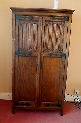 Stunning Antique Small Dark Oak Wardrobe With Iron Fittings