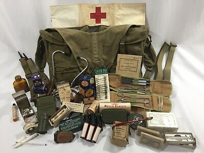 Wwii Us Army Medic Bags Yoke Set With Rare Vintage Field Gear Content Original