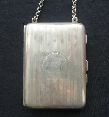 Lovely Antique English Hallmarked Sterling Silver Vanity Card Case, Chester 1919
