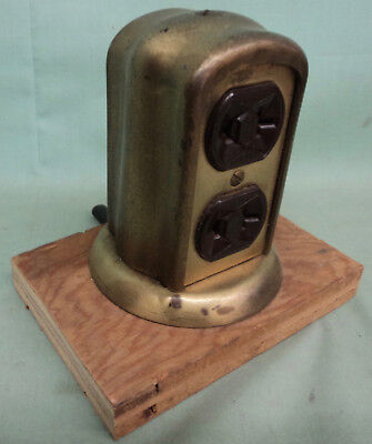 Vintage Brass Electric Floor Outlet Plug In 4 Receptacles Architectural Salvage