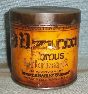 Vintage Oilzum Grease Lubricant Oil Can White & Bagley Worcester, Mass.