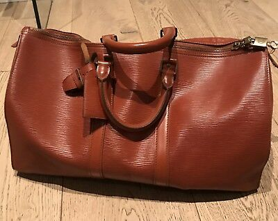 Authentic LOUIS VUITTON Keepall 45 Brown Epi Leather Duffel Bag
