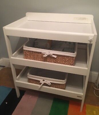John Lewis White Baby Changing Table with Baskets