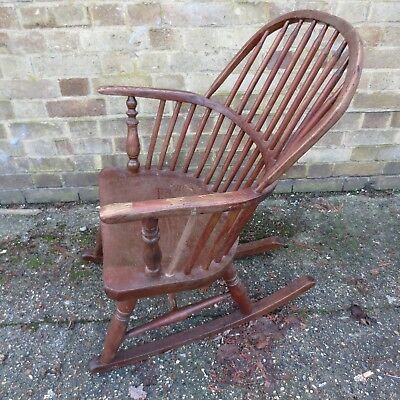 antique Victorian Windsor rocking chair renovation project