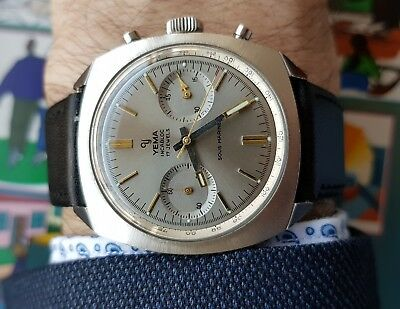 1970s Vintage Yema Sous Marine Chronograph All Steel manual Valjoux 7730 Watch