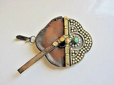 Antique Tibetan Leather Silver Metal Women Pouch Purse