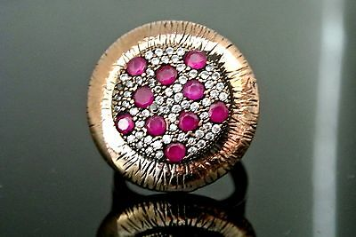 Turkish Ruby Vintage Ottoman Victorian S 8.5 925 Sterling Silver Bohemian Ring