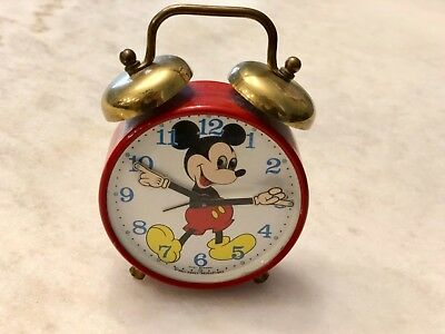 MICKEY MOUSE VINTAGE PHINNEY WALKER ALARM CLOCK Awesome Metal DISNEY Piece!