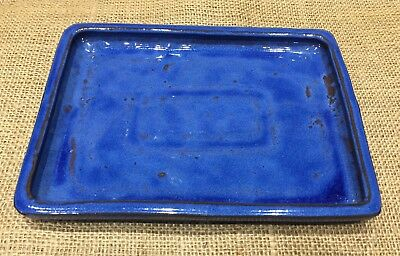 23 x 15cm Blue Glazed Ceramic Drip Tray For Bonsai Pots