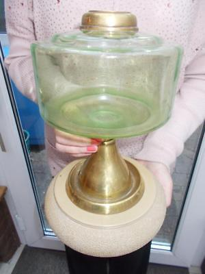 Victorian Oil Lamp Base & Reservoir Vaseline Uranium Green Glass Reservoir