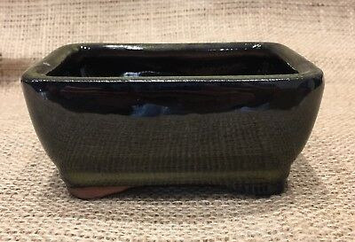 12cm Green Glazed Rectangular Bonsai Pot