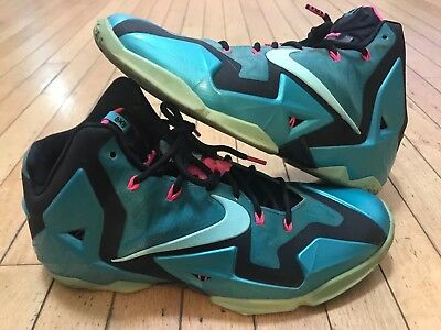best loved 2a87f 70089 Nike Lebron 11 XI South Beach Black Pink Turquoise 616175-330 Size 11.5
