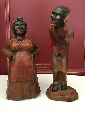 Black Americana, Folk art Mammy & Pappy Wood Carved Figures