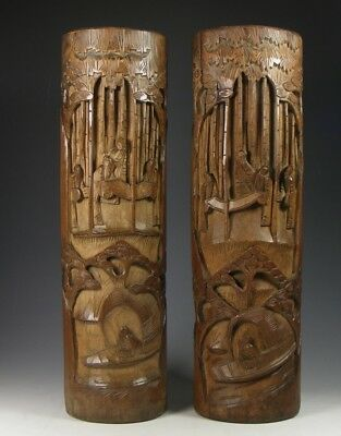 Antique Pair Chinese Carved Bamboo Vases