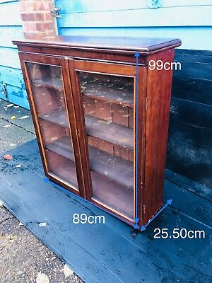 Cabinet bookcase, shabby chic,  glass doors, 2 shelves, with key.