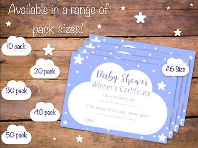 Baby Shower Winner's Certificate Pack - Party Game - Blue Boy Design - Girl Pink