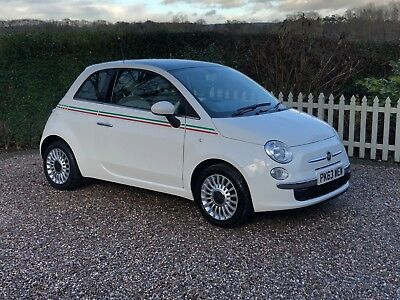2013 Fiat 500 Lounge 1.2 with Pan Roof, White