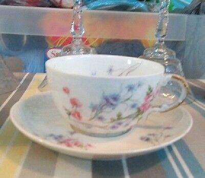 Pink/blue cup and saucer set, Theodore Haviland Imoges France