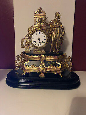 Antique Japy Freres Gold and Black Mantle Clock - Man with Lyre