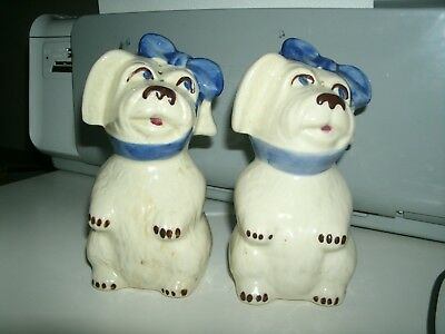 """Vintage Shawnee Muggsy Toothache Dog Large Salt And Pepper Shakers 5 1/2"""""""