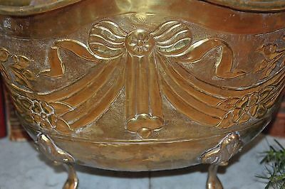 Antique French Large Brass Footed Jardiniere Planter Centerpiece Bow Ribbon