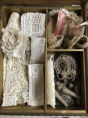 Antique Jewelry Memory Box Lot Filled Victorian Trims French Passementerie Lace