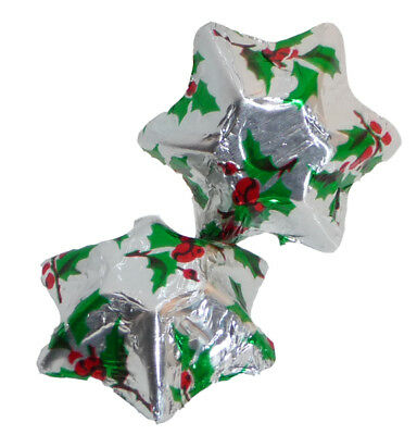 Chocolate Gems - Chocolate Stars - Holly Foil (5kg box / approx 700 pcs)
