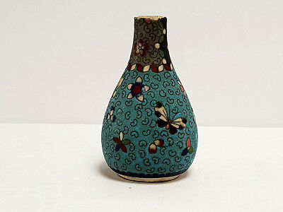 Antique Vintage Japanese Cloisonne On Pottery Small Vase