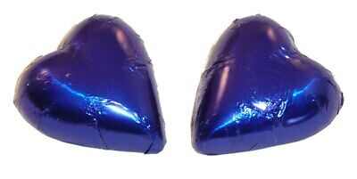 Chocolate Gems - Chocolate Hearts - Royal Blue Foil (500g bag / approx 60 pie...