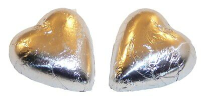 Chocolate Gems - Chocolate Hearts - Silver Foil (500g bag / approx 60 pieces)